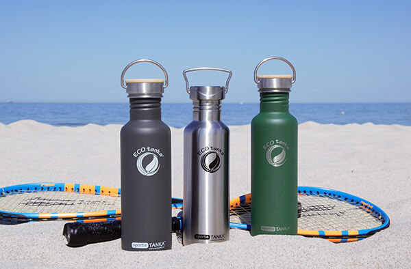 ECOtanka bottles on the beach
